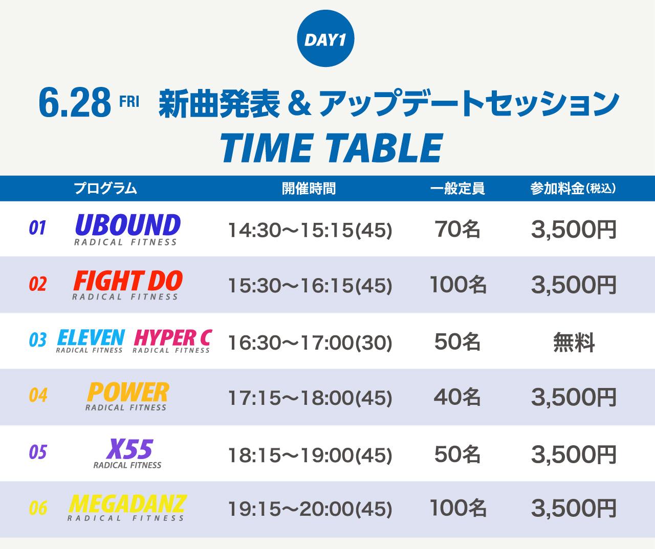 6.29 FRI新曲発表&アップデート会 TIME TABLE